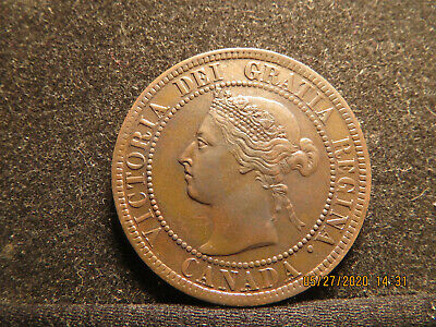1893 Canada Large Cent, Queen Victoria, About Uncirculated