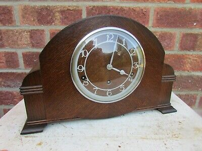 1930s Oak 8 Day Westminster Chime Mantle Clock by Garrard.