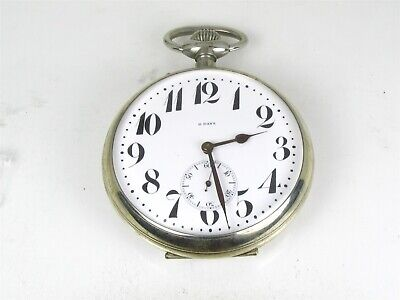 Antique Silver Tone Swiss Majestic 8 Days Large Pocket Watch 361g