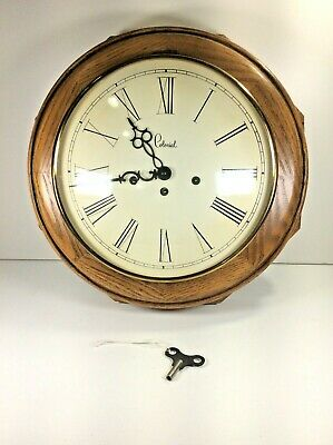 "Rare 1970's Colonial Of Zeeland 15"" Octogo Triple Chime Wall Clock Working w Key"
