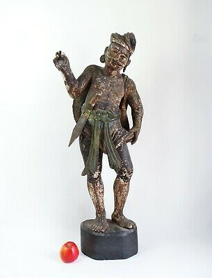 Large fine antique 19th century Burmese Warrior statue - carved wood