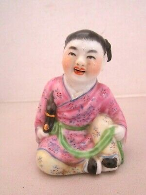 """Vintage small Chinese Smiling Girl Figurine. Porcelain. 3.5"""" t. Pink robe 10-26"""