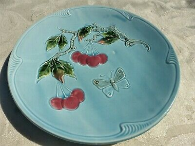 BEAUTIFUL Vintage MAJOLICA PLATE GERMANY Cherrys and Butterfly NICE
