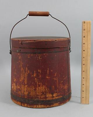 Antique New England Primitive Old Red Paint Painted Wood Firkin Bucket NR