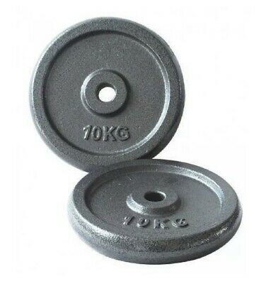 Opti Circular Cast Iron Weight Plates 2x 10kg Barbell Brand New 20kg Gym 1 Inch