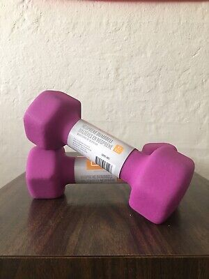 x2 5 LB CAP Neoprene Hex Dumbbell Hand Weight Pair Set = 10 Pounds For Fitness!!