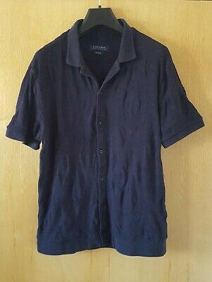 Zara Men's T-shirt L/12, navy blue knitted polo top, worn but in good condition.