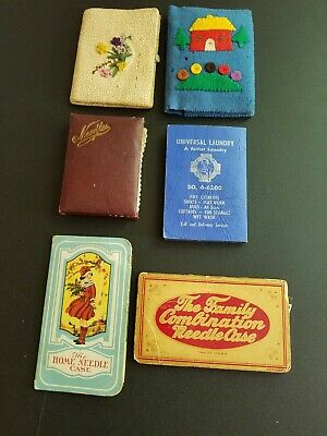 vintage sewing lot of needle and pin cases