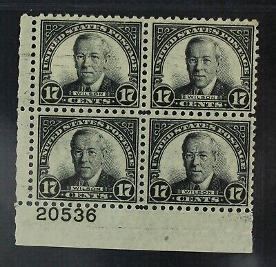 CKStamps: US Stamps Collection Scott#697 17c Block Mint NH OG Perf Folded