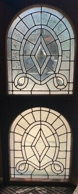 2 Antique Chicago Leaded & Beveled Glass Arched Top Window Circa 1890