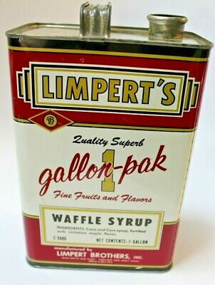 Vintage Limperts Waffle Syrup 1 Gallon Advertising Can Vineland New Jersey