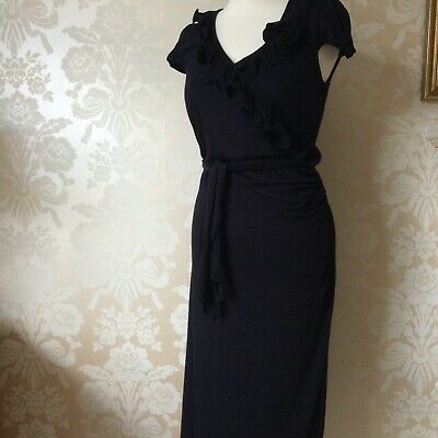 Marks And Spencer Navy Soft Jersey Pull On Midi Dress Size 12 New Bnwot