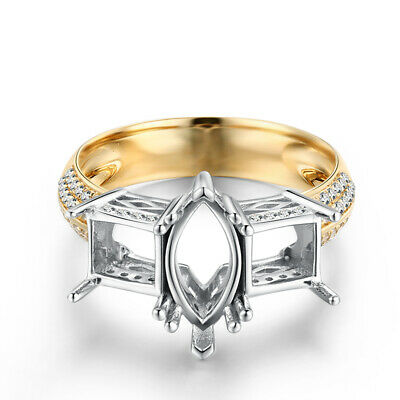Yellow Gold Marquise&Princess 10x5mm 5.6x5.4mm Diamond Ring Solid 14K White Gold