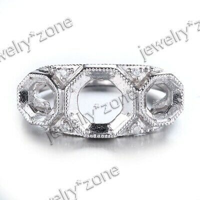 14K White Gold 7mm&5mm Round Cut Diamonds 3-Stone Semi Mount Engagement Ring