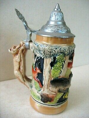 Lidded GERMAN small stein with boar, deer, and fox/bear handle. No damage,