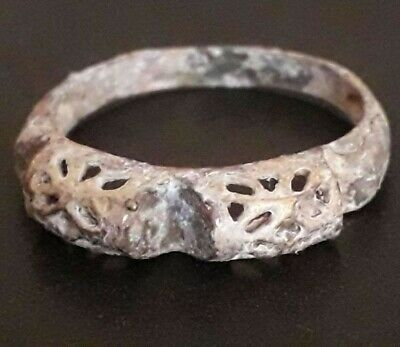 Rare Ancient Ring Wedding Bronze Norse Unique Jewelry Artifact Very Old Viking