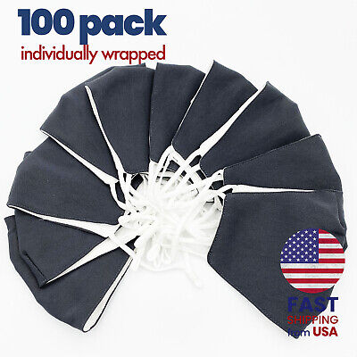 [100 PACK] Charcoal Gray Handmade Washable Cotton Cloth Face Mask 2 Layers Cover