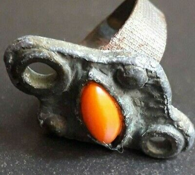 Ancient Ring Roman Empire Silver Medieval Jewelry Antique Rare Stone Unique