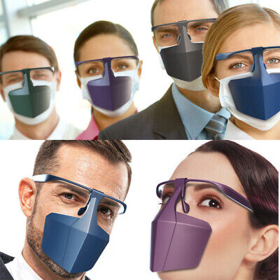 2Pcs Face Mouth Shield Protection Glasses Wearable Anti-Saliva Dust-Proof
