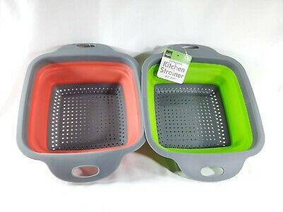 Home Basics MW44966 Collapsible Strainer and and Microwave Plate with Cover Red
