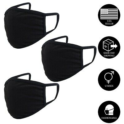 Face Mask Double Layer Black Washable Reusable Cotton Cloth Ships From US 3 Pack