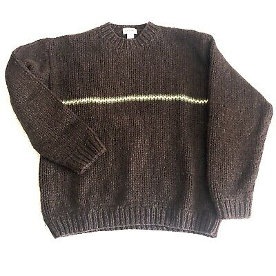 J Crew Wool Sweater Mens Large Hand Knit Brown Green Stripe Accent