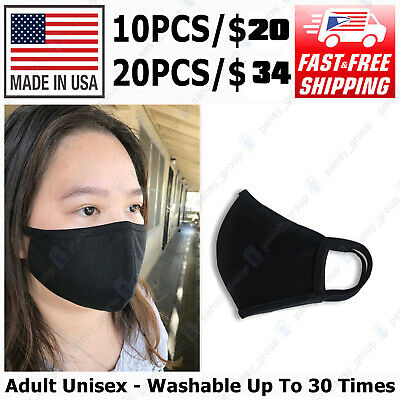 [Pack of 10] High Quality Reusable Face Mask Adult Unisex, Made In USA, Black