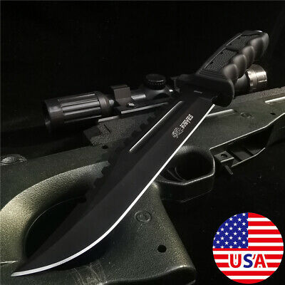 "12"" Tactical Hunting Army Rambo Fixed Blade Knife Machete Bowie Survival Knives"