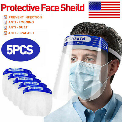 5PCS Safety Full Face Shield Reusable Protection Cover Face Eye Protective Cover