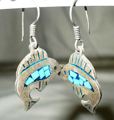 Silver Dolphin Turquoise Inlay Dangle Earrings (stamped)