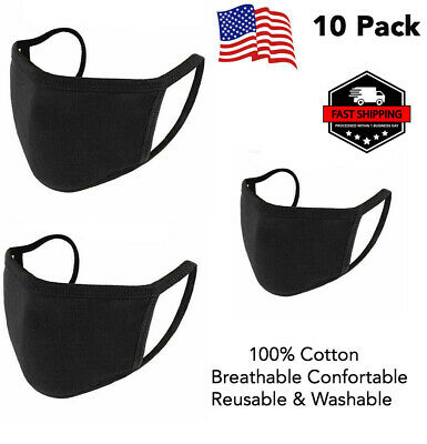 [10 Pack] Black Face Mask Breathable Washable 1 Layer Cotton Mouth Cover