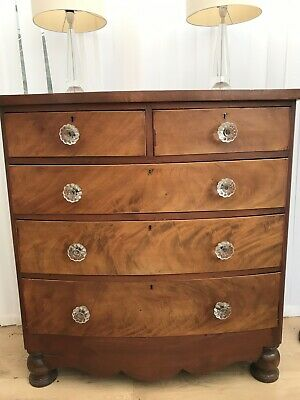 Large Antique Victorian bow front Chest of drawers flamed Mahogany Glass handles