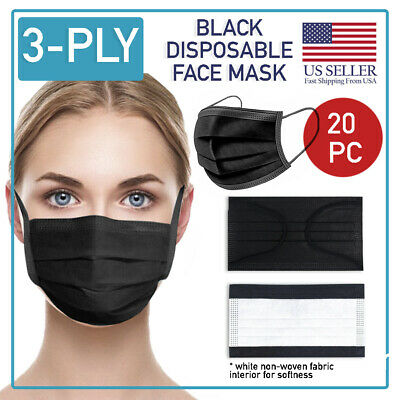 Black Disposable Face Mask 20 PCS 3-Ply Medical Surgical Ear-Loop Mouth Cover