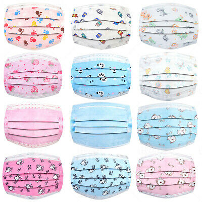 Kids Disposable Face Mask 3Ply Protective Mouth Cover Ear Loop Non Medical Child