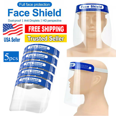 5 PCS - Safety Full Face Shield Reusable Washable Protection Cover Face Mask!!