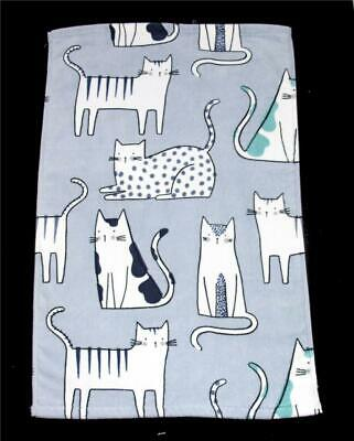 ARTISAN Soft Velour Decorated Stripes Dots Spots CATS Grey Wash Cloth NEW HTF