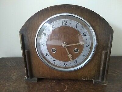 """BENTIMA PERIVAL WOODEN MANTLE CLOCK  WITH KEY 9.25 x 4.5 x 8.5"""""""