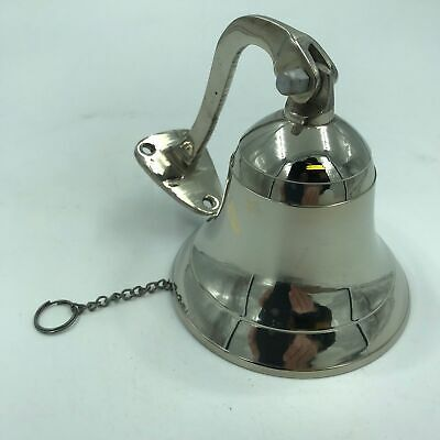 Nautical Marine Brass Ship Bell Door bell Wall Mount / Hanging Silver Finish