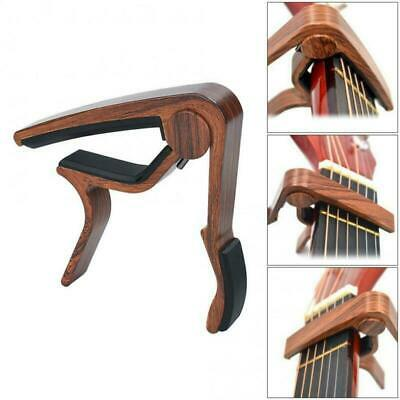 Wood Guitar Adjustment Clip Capo with Plectrums for Acoustic Electric Guitars