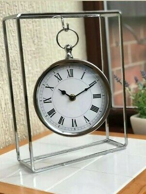 Novelty Silver Chrome Frame Mantle Clock Hanging Mantle Office Table Clock New