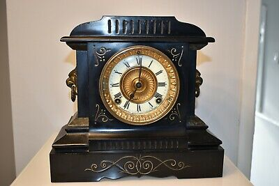 Antique Ansonia mantle clock cast iron WORKING Edwardian clock VINTAGE