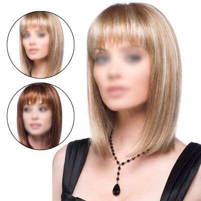 Womens Ladies Lace Front Short Straight Hair Wigs Bob Style Natural Cosplay Wig