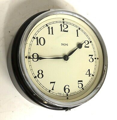 Small Vintage SMITHS Chrome And Bakelite Mechanical Wall Clock