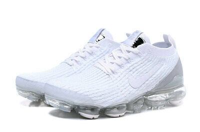 NIKE AIR VaporMax 2019 Flyknit 3 White With White LOGO Running Shoes