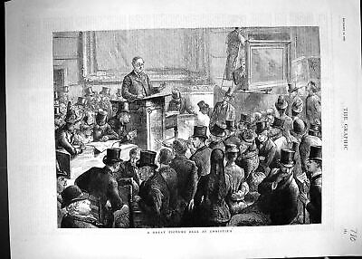Antique Old Print 1887 Picture Art Sale Christies Auction Paintings London 19th