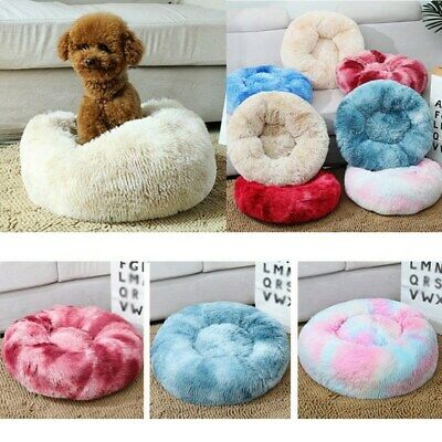 Pet Dog Cat Donut Plush Bed Fluffy Soft Warm Calming Bed Sleeping Nest Kennel US