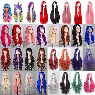 Women Long Hair Full Wig Curly Wavy Straight Hair Wig Party Costume Cosplay UK