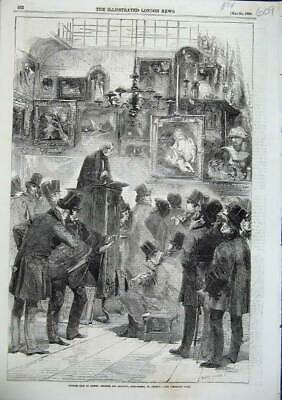 Old Antique Print 1856 Picture Sale Christies Manson Auction King Street 19th