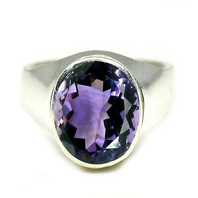 GemsOnClick Real Amethyst Rings for Mens 925 Sterling Silver Purple Feburary Birthstone Band in Size H-Z
