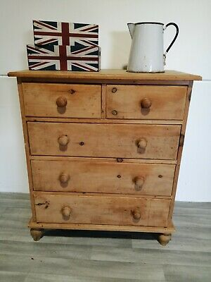 Antique country rustic cottage style farmhouse Pine Chest of Drawers